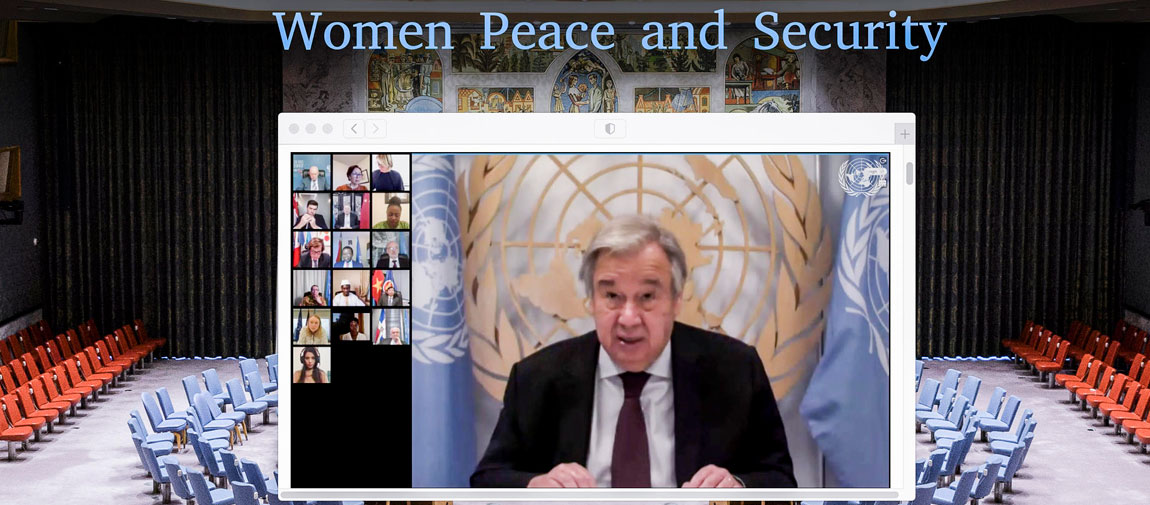 Secretary-General António Guterres briefs an open video conference with UN Security Council members on Women and Peace and Security. UN Photo/Eskinder Debebe